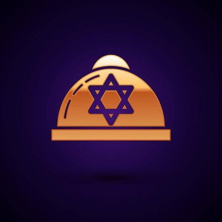 Gold Jewish kippah with star of david icon isolated on dark blue background. Jewish yarmulke hat. Vector Illustration