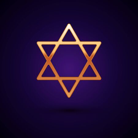 Gold Star of David icon isolated on dark blue background. Jewish religion symbol. Symbol of Israel. Vector Illustration