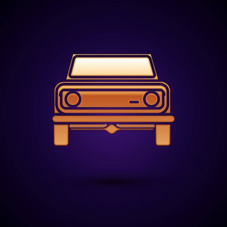 Gold Off road car icon isolated on dark blue background.  Vector Illustration