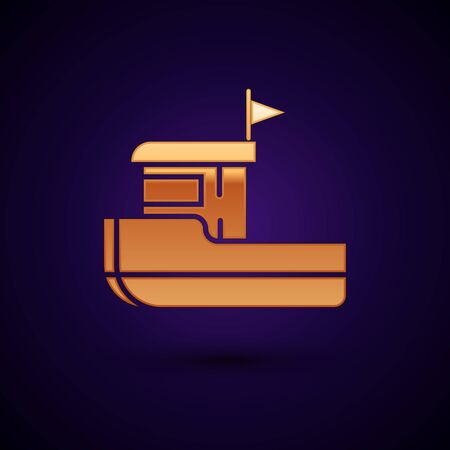 Gold Fishing boat icon isolated on dark blue background. Vector Illustration