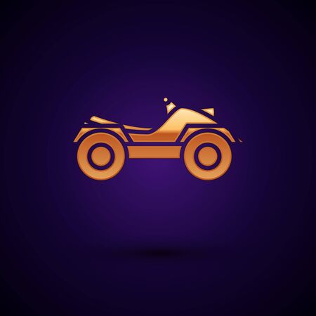 Gold All Terrain Vehicle or ATV motorcycle icon isolated on dark blue background. Quad bike. Extreme sport. Vector Illustration