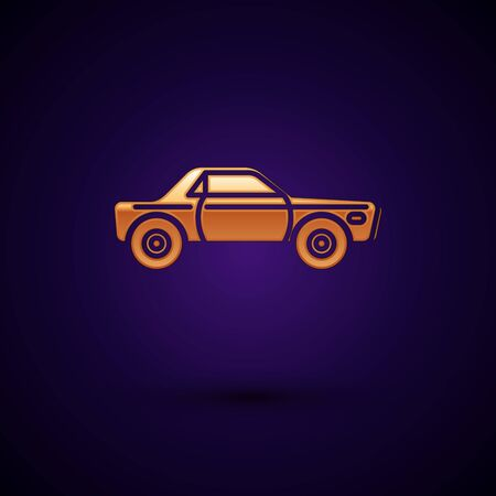 Gold Sedan car icon isolated on dark blue background. Vector Illustration