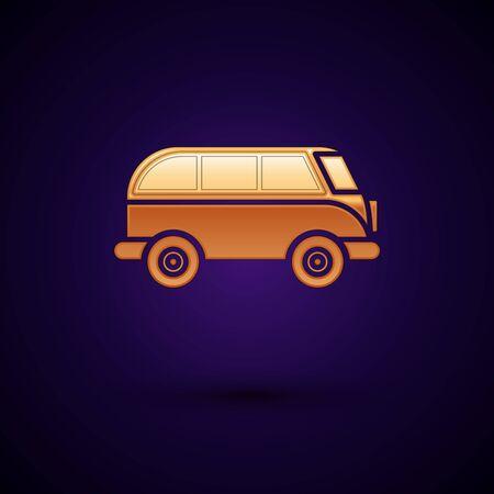 Gold Retro minivan icon isolated on dark blue background. Old retro classic traveling van. Vector Illustration