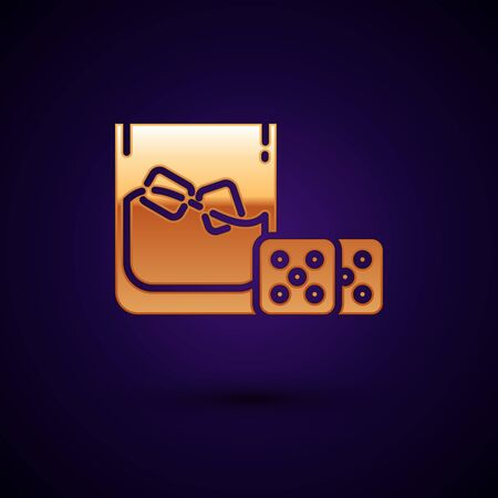Gold Game dice and glass of whiskey with ice cubes icon isolated on dark blue background. Casino gambling. Vector Illustration  イラスト・ベクター素材