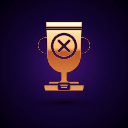Gold Award cup icon isolated on dark blue background. Winner trophy symbol. Championship or competition trophy. Sports achievement sign. Vector Illustration