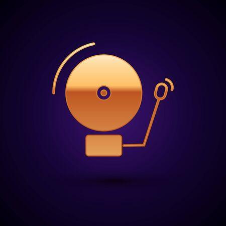 Gold Ringing alarm bell icon isolated on dark blue background. Alarm symbol, service bell, handbell sign, notification symbol. Vector Illustration