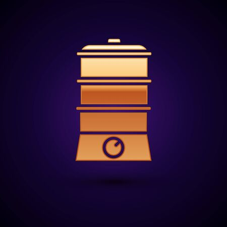 Gold Double boiler icon isolated on dark blue background. Vector Illustration