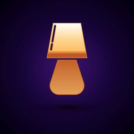Gold Table lamp icon isolated on dark blue background. Vector Illustration Ilustração
