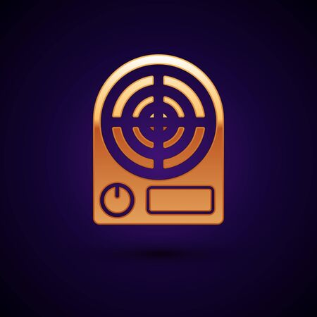 Gold Electric heater icon isolated on dark blue background. Infrared floor heater with remote control. House climate control. Vector Illustration
