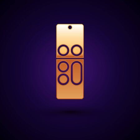 Gold Remote control icon isolated on dark blue background. Vector Illustration