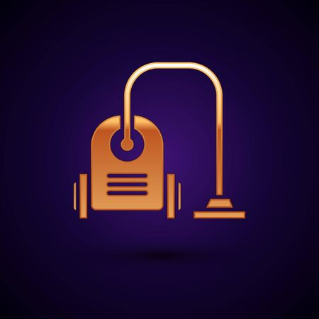 Gold Vacuum cleaner icon isolated on dark blue background. Vector Illustration
