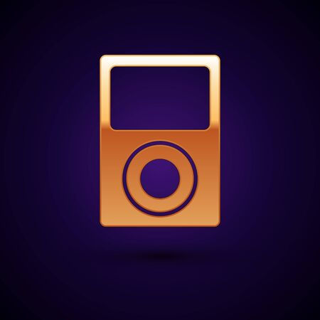 Gold Music player icon isolated on dark blue background. Portable music device. Vector Illustration
