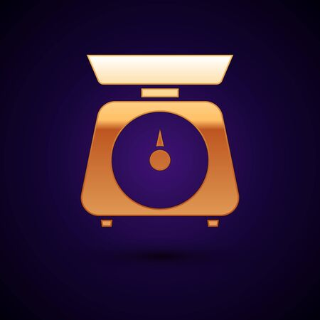 Gold Scales icon isolated on dark blue background. Weight measure equipment. Vector Illustration