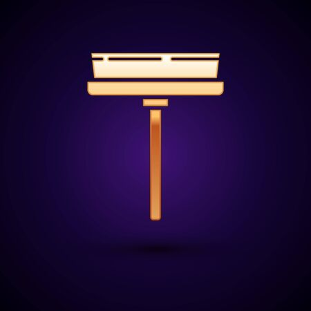 Gold Cleaning service with of rubber cleaner for windows icon isolated on dark blue background. Squeegee, scraper, wiper. Vector Illustration