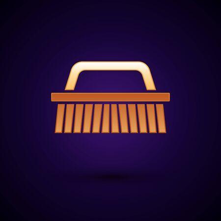 Gold Brush for cleaning icon isolated on dark blue background. Vector Illustration Ilustração