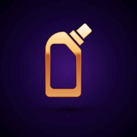 Gold Plastic bottle for liquid laundry detergent, bleach, dishwashing liquid or another cleaning agent icon isolated on dark blue background. Vector Illustration