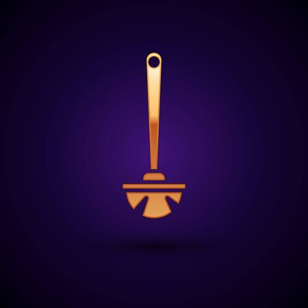 Gold Toilet brush icon isolated on dark blue background. Vector Illustration