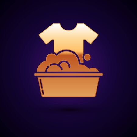Gold Plastic basin with soap suds icon isolated on dark blue background. Bowl with water. Washing clothes, cleaning equipment. Vector Illustration Ilustração