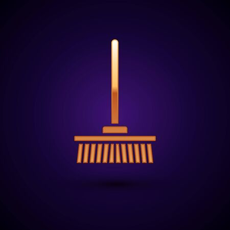 Gold Mop icon isolated on dark blue background. Cleaning service concept. Vector Illustration