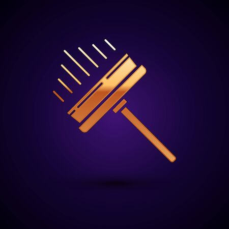 Gold Cleaning service with of rubber cleaner icon isolated on dark blue background. Squeegee, scraper, wiper. Vector Illustration