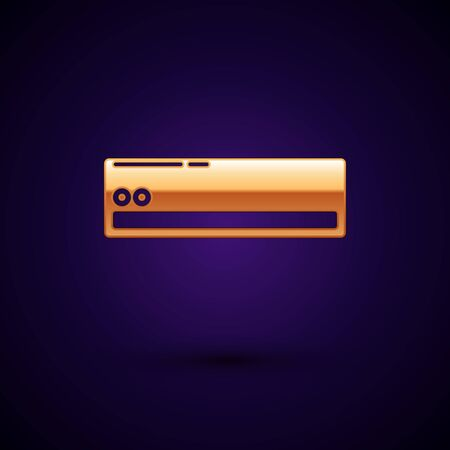 Gold Air conditioner icon isolated on dark blue background. Split system air conditioning. Cool and cold climate control system. Vector Illustration