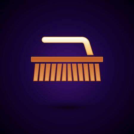 Gold Brush for cleaning icon isolated on dark blue background. Vector Illustration 向量圖像
