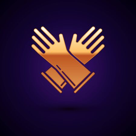 Gold Rubber gloves icon isolated on dark blue background. Latex hand protection sign. Housework cleaning equipment symbol. Vector Illustration