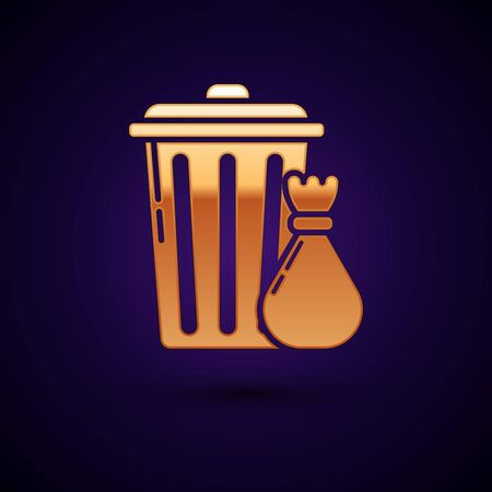Gold Trash can and garbage bag icon isolated on dark blue background. Garbage bin sign. Recycle basket icon. Office trash icon. Vector Illustration Ilustração