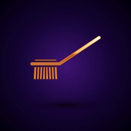 Gold Toilet brush icon isolated on dark blue background. Vector Illustration