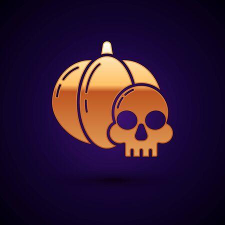 Gold Pumpkin and skull icon isolated on dark blue background. Happy Halloween party. Vector Illustration Ilustração