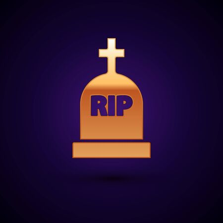 Gold Tombstone with RIP written on it icon isolated on dark blue background. Grave icon. Vector Illustration