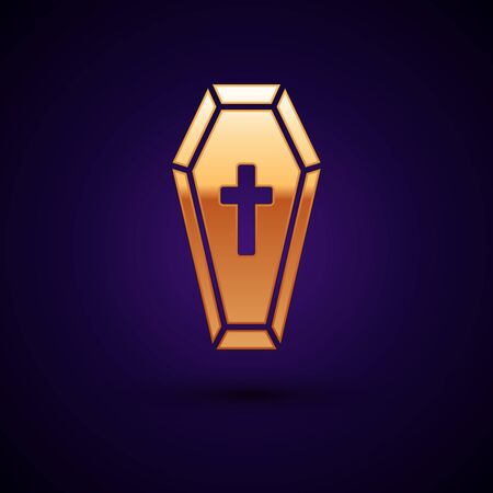 Gold Coffin with christian cross icon isolated on dark blue background. Happy Halloween party. Vector Illustration Ilustração
