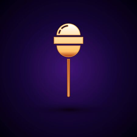 Gold Lollipop icon isolated on dark blue background. Food, delicious symbol. Vector Illustration