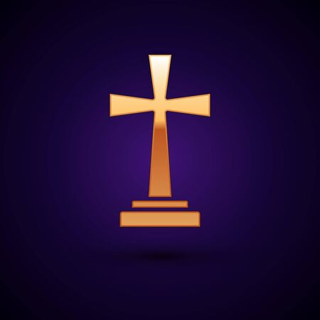Gold Tombstone with cross icon isolated on dark blue background. Grave icon. Vector Illustration Ilustração