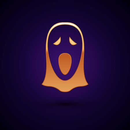 Gold Funny and scary ghost mask for Halloween icon isolated on dark blue background. Happy Halloween party. Vector Illustration