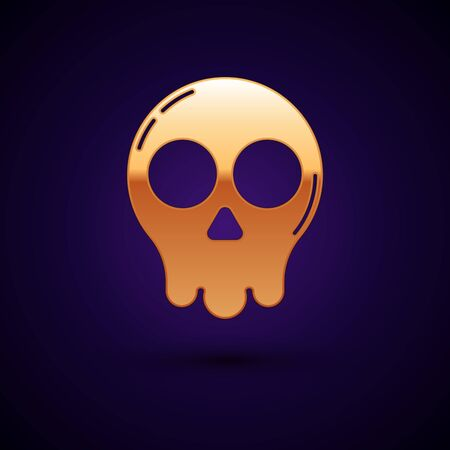 Gold Skull icon isolated on dark blue background. Happy Halloween party. Vector Illustration