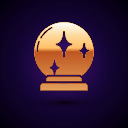 Gold Magic ball icon isolated on dark blue background. Crystal ball. Vector Illustration