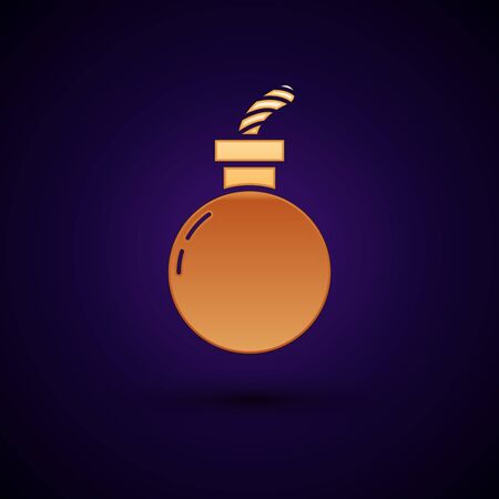 Gold Bomb ready to explode icon isolated on dark blue background. Happy Halloween party. Vector Illustration Ilustração