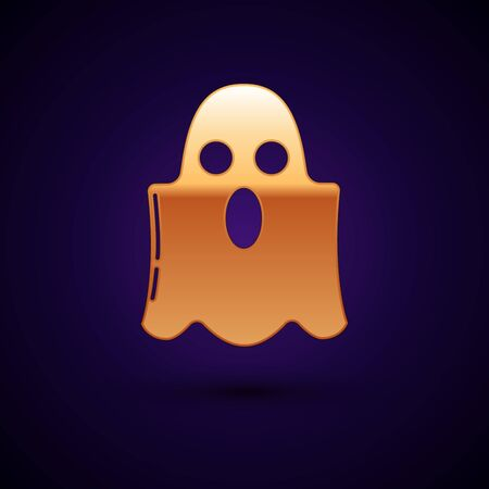 Gold Ghost icon isolated on dark blue background. Happy Halloween party. Vector Illustration
