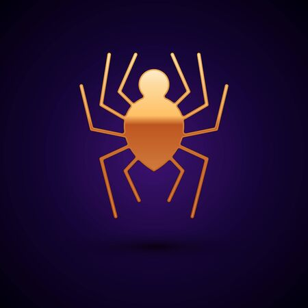 Gold Spider icon isolated on dark blue background. Happy Halloween party. Vector Illustration