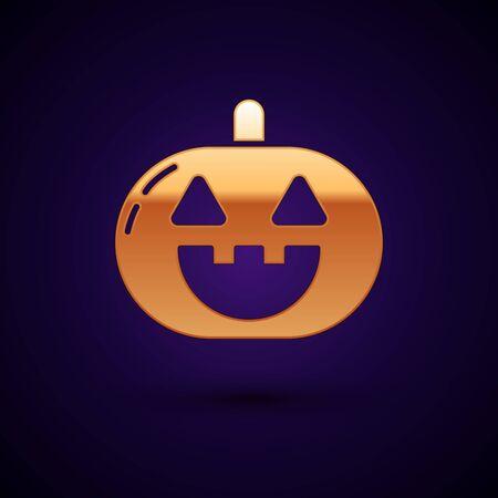 Gold Pumpkin icon isolated on dark blue background. Happy Halloween party. Vector Illustration Ilustração
