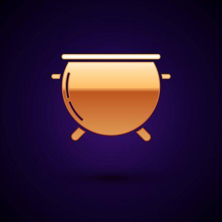 Gold Halloween witch cauldron icon isolated on dark blue background. Happy Halloween party. Vector Illustration Ilustração