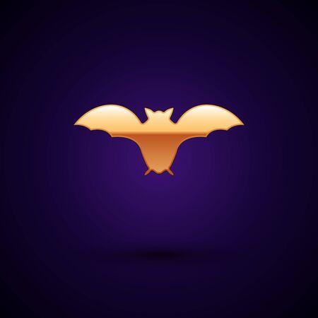 Gold Flying bat icon isolated on dark blue background. Vector Illustration Ilustração