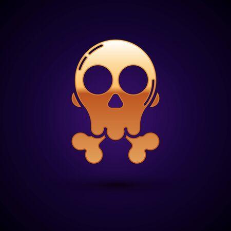 Gold Skull on crossbones icon isolated on dark blue background. Happy Halloween party. Vector Illustration