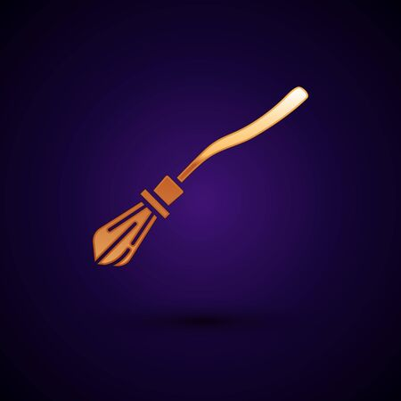 Gold Witches broom icon isolated on dark blue background. Happy Halloween party. Vector Illustration