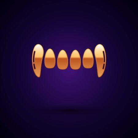 Gold Vampire teeth icon isolated on dark blue background. Happy Halloween party. Vector Illustration