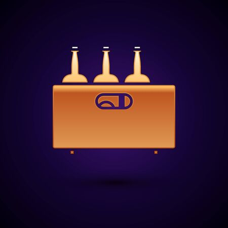 Gold Bottles of wine in a wooden box icon isolated on dark blue background. Wine bottles in a wooden crate icon. Vector Illustration