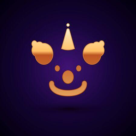 Gold Clown head icon isolated on dark blue background. Vector Illustration Ilustração