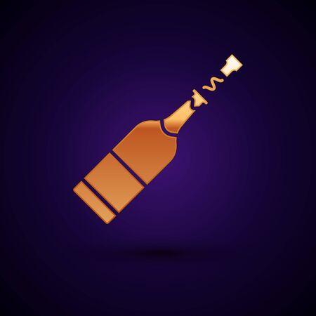 Gold Champagne bottle icon isolated on dark blue background. Vector Illustration Çizim