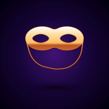 Gold Festive mask icon isolated on dark blue background. Vector Illustration